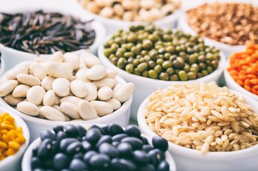 Lectin-rich beans and rice in bowls