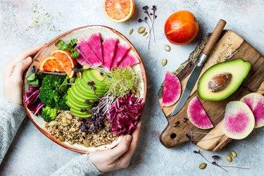 Healthy creative salad with avocado