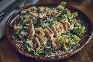 Homemade Cesar Salad with Chicken, Lettuce and Parmesan