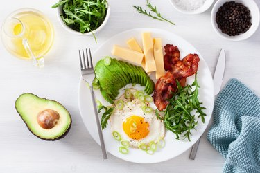 Atkins diet breakfast with egg, avocado, cheese and bacon
