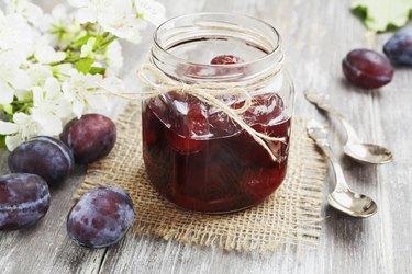 boron-rich prune jam in a glass jar