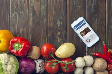 Mobile phone with food diary app.