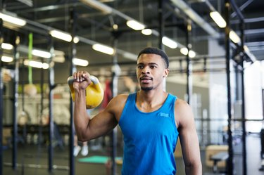 Workout with kettlebell