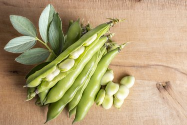 Organic and healthy soy beans on cutting board