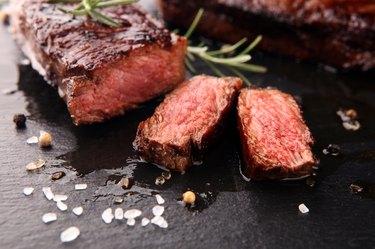 a sliced Rib Eye Steak, as an example of foods with tyrosine