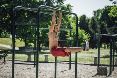 Man doing a hanging L-sit ab exercise on a playground