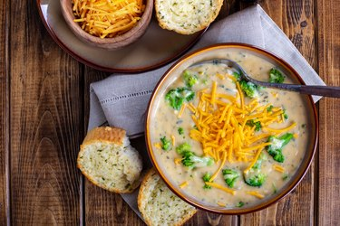 Bowl of Creamy Cheddar Broccoli Soup