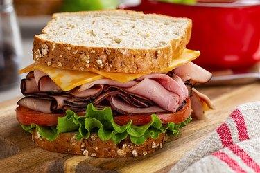Ham and Cheese Sandwich on Whole Grain Bread