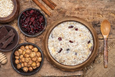 Healthy high-fiber, high-iron oatmeal with dried fruits