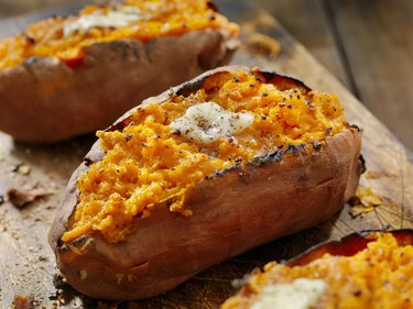 vitamin A-rich Sweet Potatoes with Melting Butter and Cracked Pepper