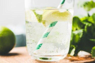 Closeup view of sparkling lemonade or lemon soda