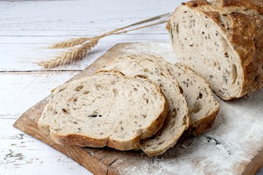 Assortment of baked bread with wheat, A food allergen