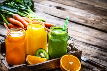 Order fruit or vegetable juices like these carrot, orange and kiwi smoothies at gastroparesis-friendly restaurants