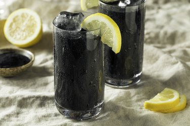 two glasses of Black Activated Charcoal Lemonade, as a natural remedy for upset stomach