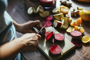 Carbohydrate-rich beets on a cutting board
