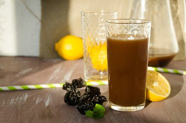 a glass of prune juice, as an example of the best fruit juice for constipation