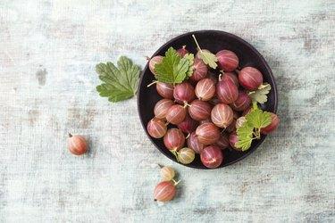 Bowl of red gooseberries