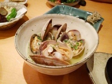 Steamed clams with Sake (Asari no sakamushi), Japanese traditional food