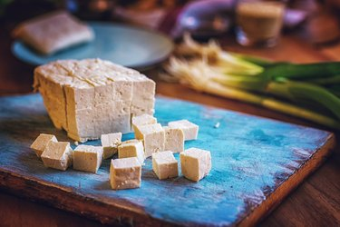 omega-6 rich Fresh Tofu and Spring Onions