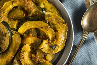 Carbohydrate-rich homemade baked acorn squash