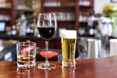 Alcohol drinks on a bar