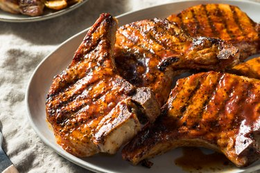 Homemade Barbecue Pork Chops on plate