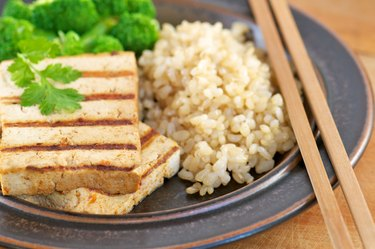 Close-up of Grilled Tofu with Brown Rice