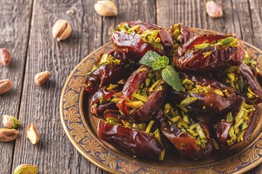 Dry dates stuffed with pistachios