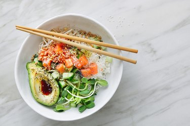 top view of a Poke bowl with salmon and avocado