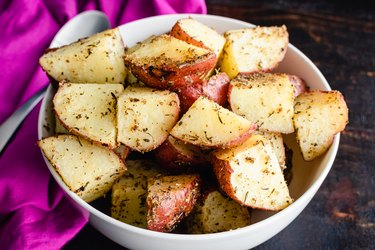 Small red-skin potatoes are commonly roasted with rosemary and garlic.
