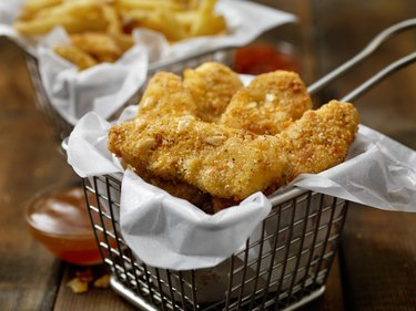 Vegan, Meatless-Plant Based Protein Chicken Strips with a Seven Grain Coating and Fries