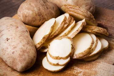 Antioxidant-rich Russet potatoes on table