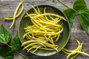 Yellow wax beans on plate