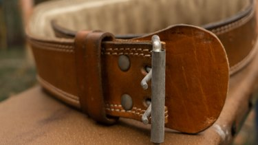 close up of leather weight lifting belt