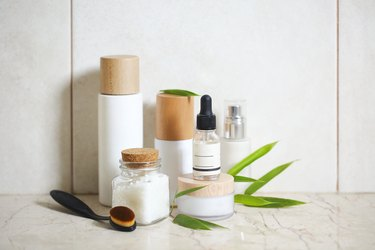 Skincare product line-up on bathroom counter