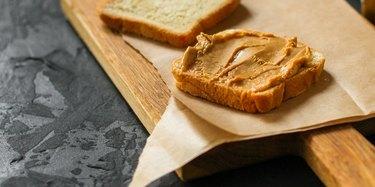 peanut butter sandwich, dessert (sweets or snacks, breakfast). food background. top photo
