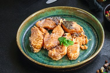 calcium-rich canned salmon on blue plate