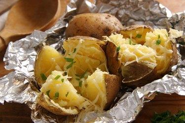 Magnesium- and potassium-rich baked potato on foil