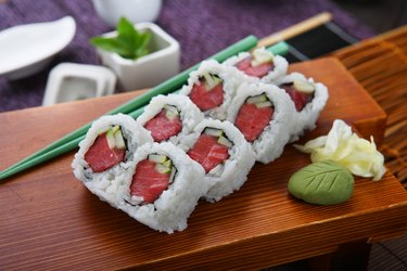 Tuna Roll on a wooden table
