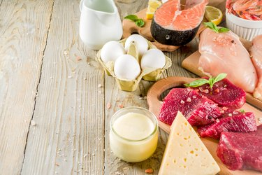 Selection of foods with lipids: salmon, meats, dairy, eggs.