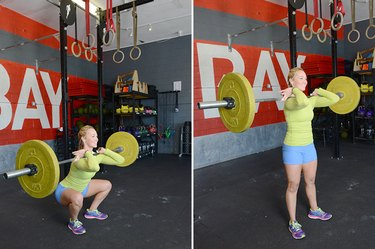 Woman performing front squat.
