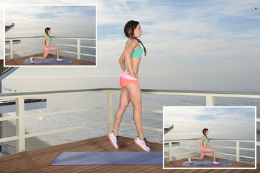 Woman Demonstrating Lunge Jumps
