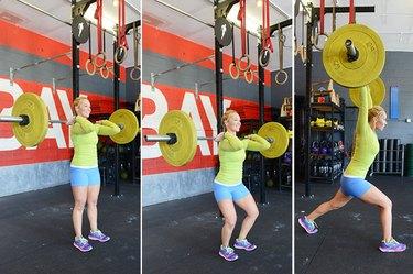 Woman performing split jerk exercise.
