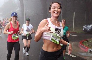 Smiling women at race