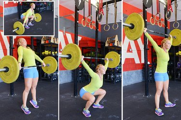 Woman performing snatch.