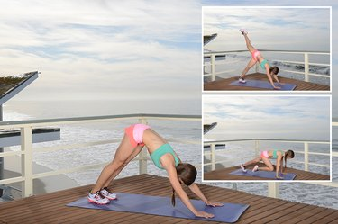 Woman Demonstrating Downward Dog With Hip Opener to Plank With Knee Tuck