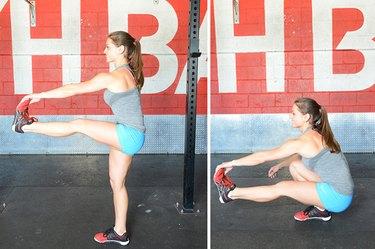 Woman performing pistol squat.