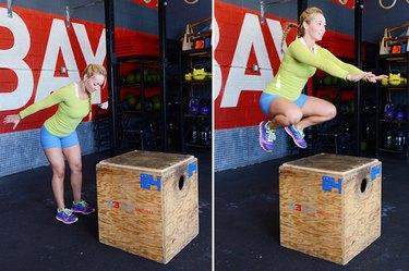 Woman performing box jump.