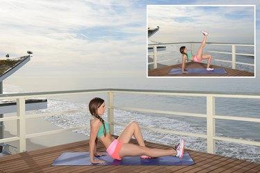 Woman Demonstrating Crab Hip Raise With Leg Lift