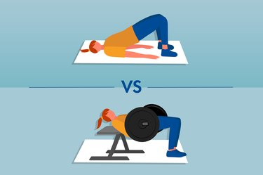 illustration of a person showing the form difference between a glute bridge and hip thrust
